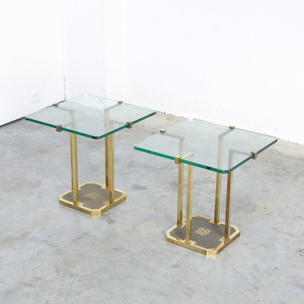 Pair of Stylish Brass Side Tables by Peter Ghyczy