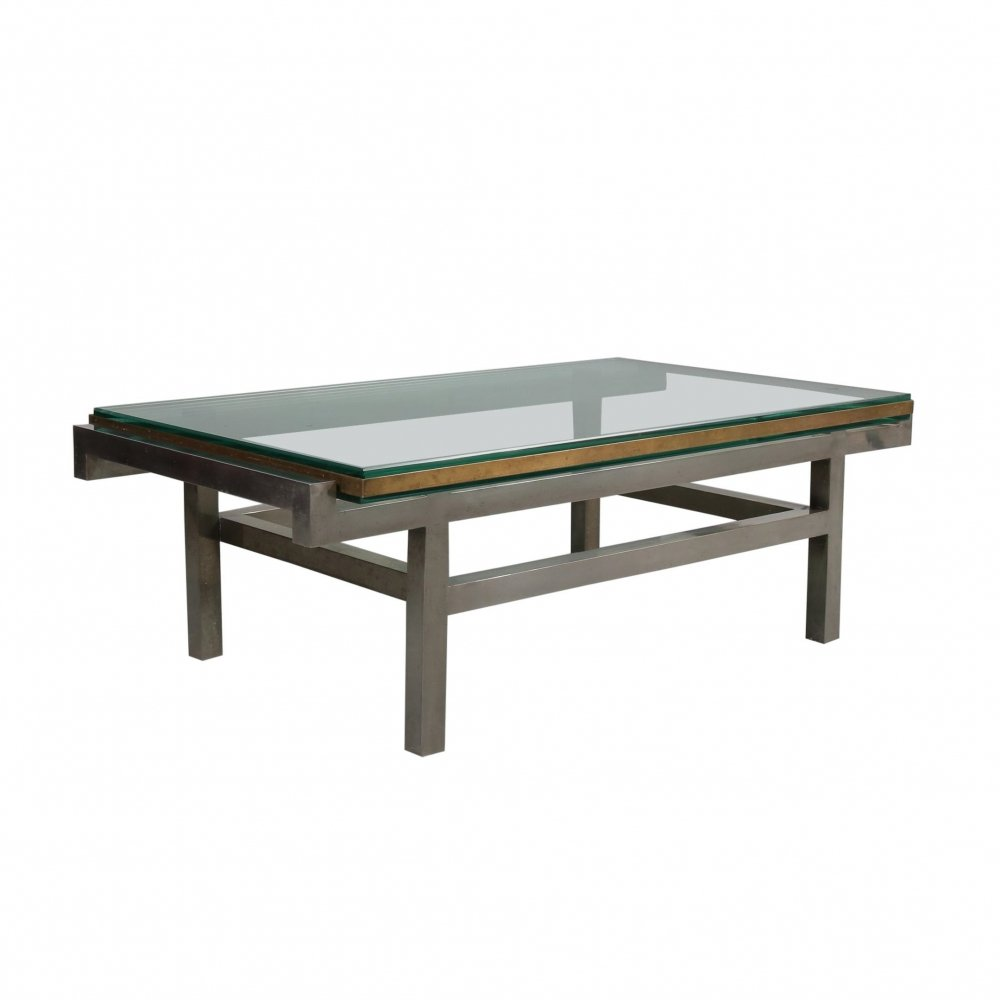 French Modernist Coffee Table in Steel & Brass, 1960