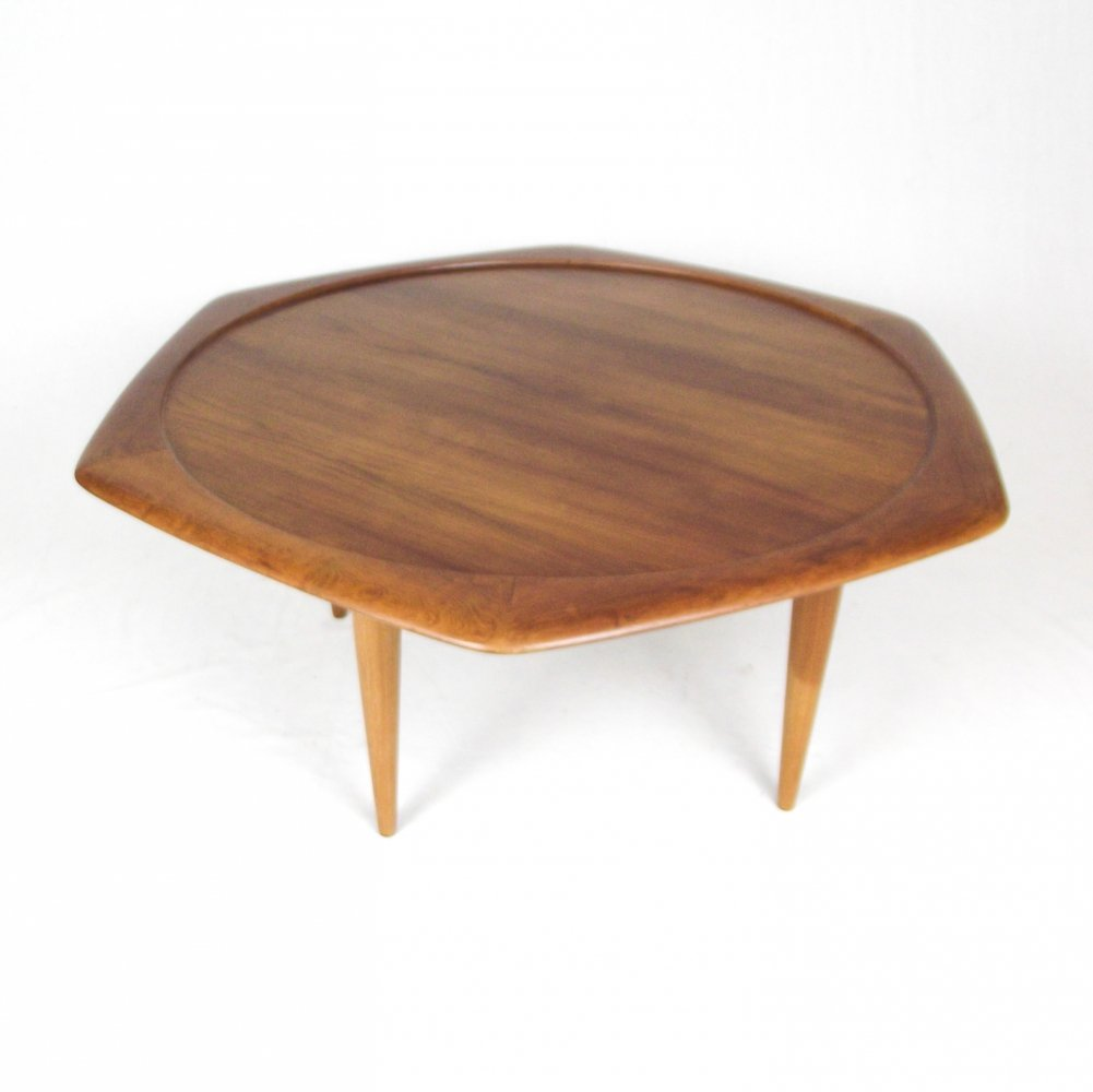 Mogens Kold hexagonal teak coffee table, 1960s