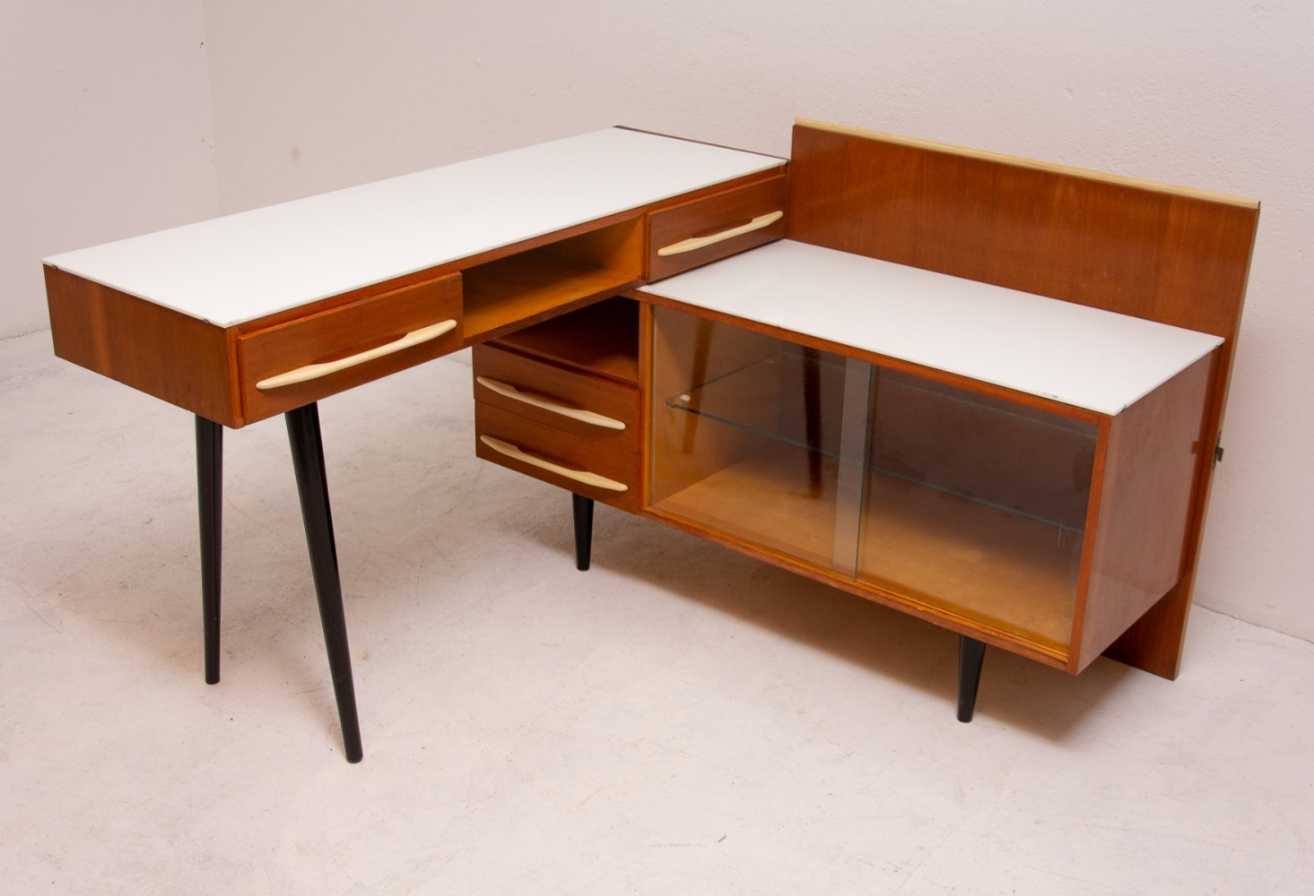 Midcentury corner writing desk with a small bookcase by M. Požár for ÚP Závody