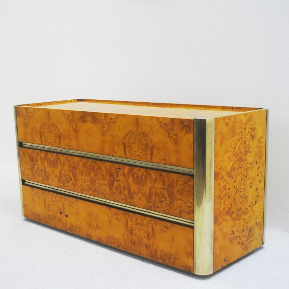 Chest Of Drawers In Brass And Birch Burl, Circa 1970s