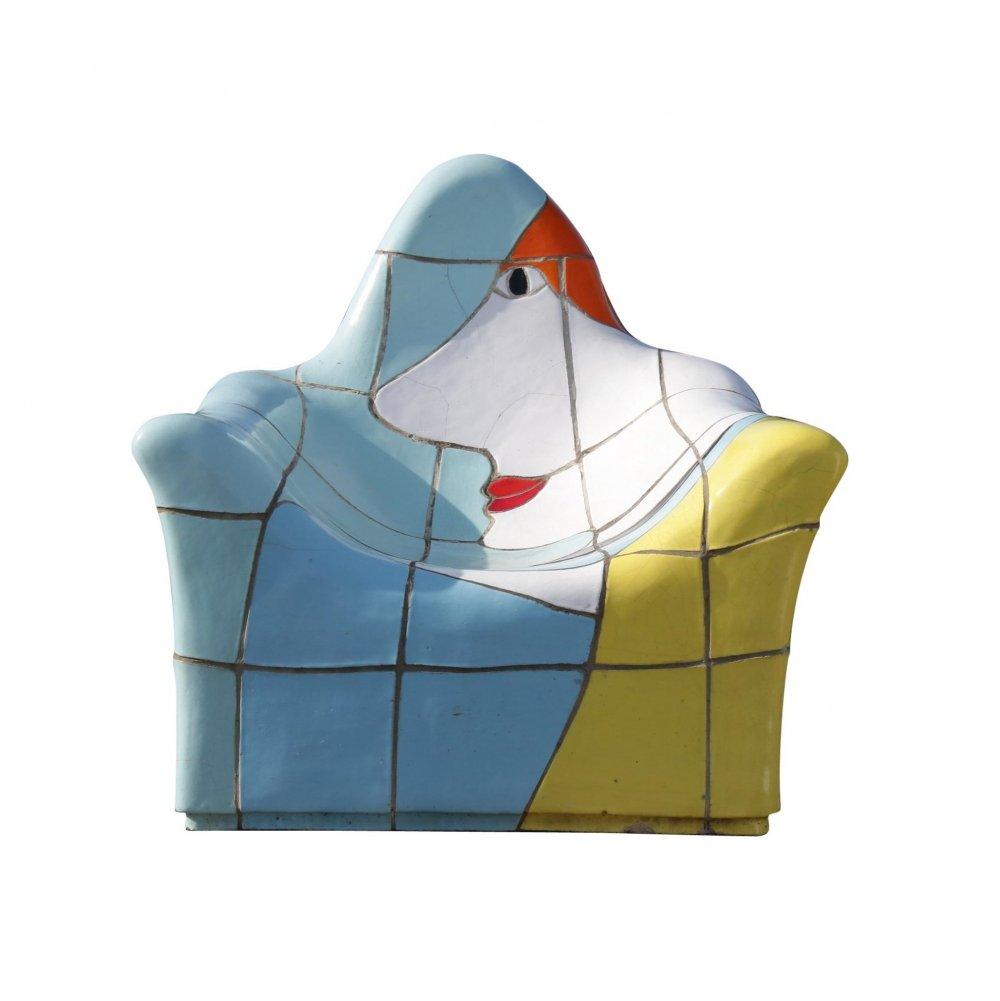 Jan Snoeck Ceramic Sculpture / Chair from the MS Volendam, Netherlands 1990