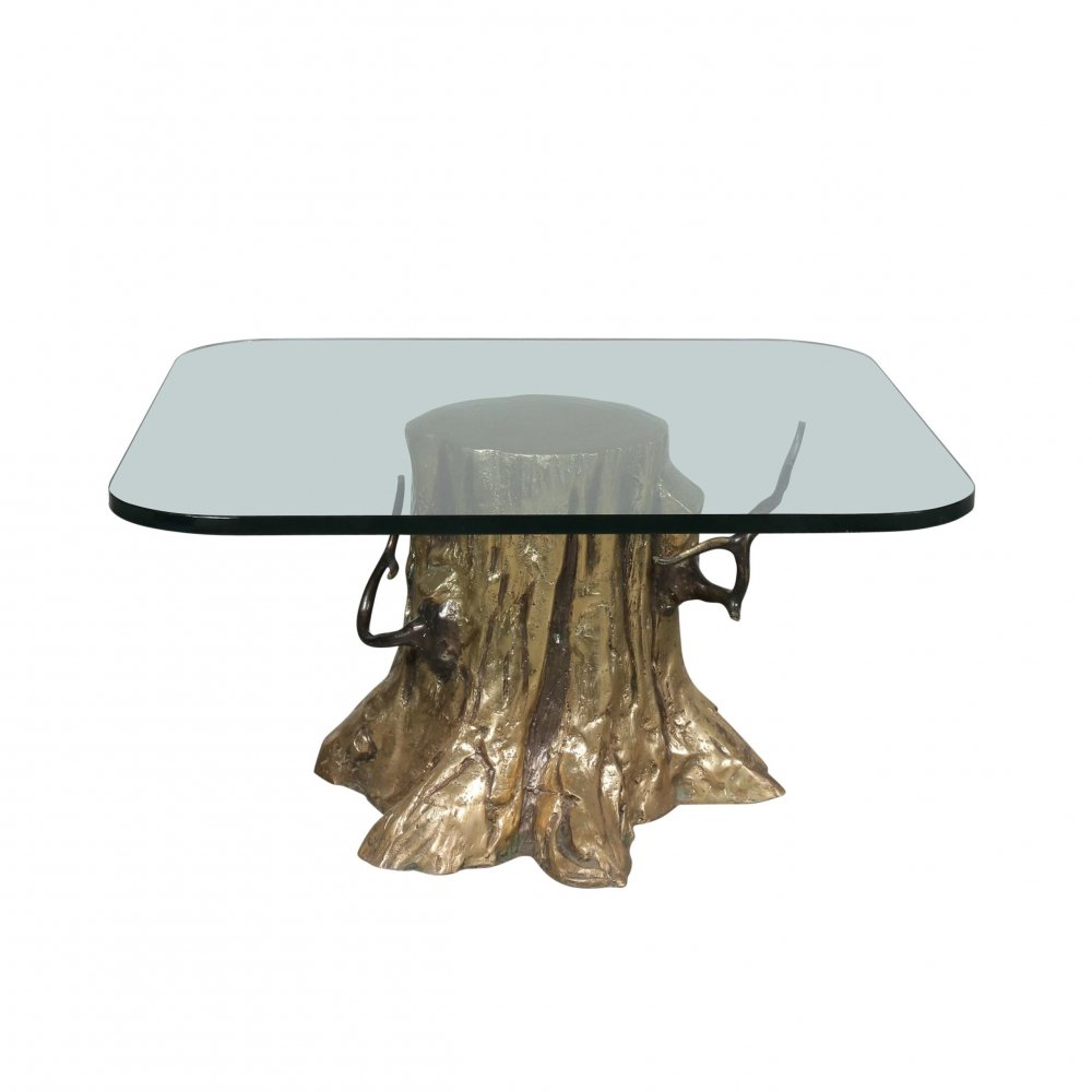 Bronze Tree Trunk Coffee Table, 1980