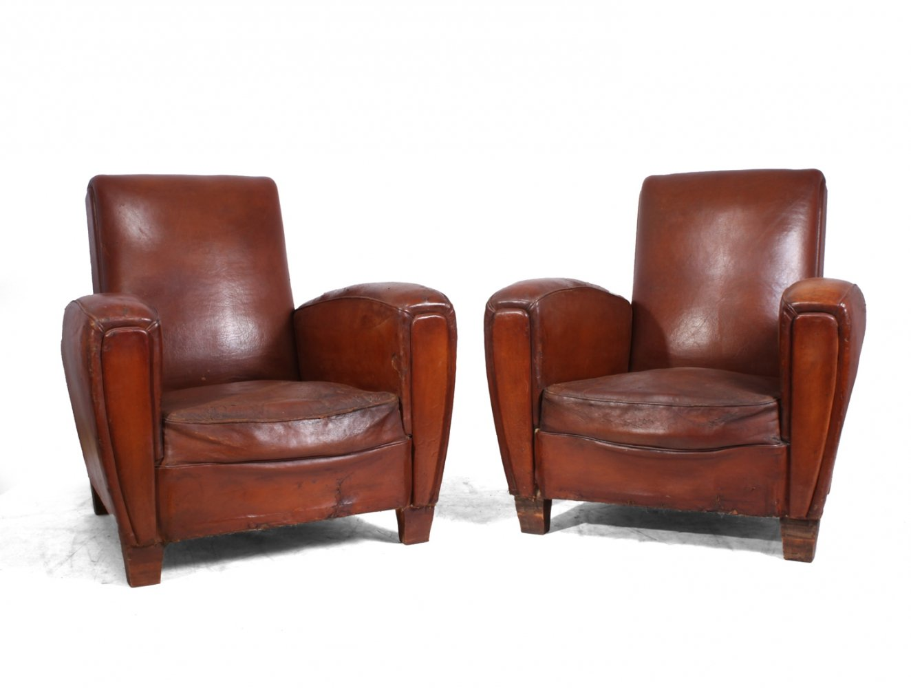 Pair of French Leather Club chairs, c1950