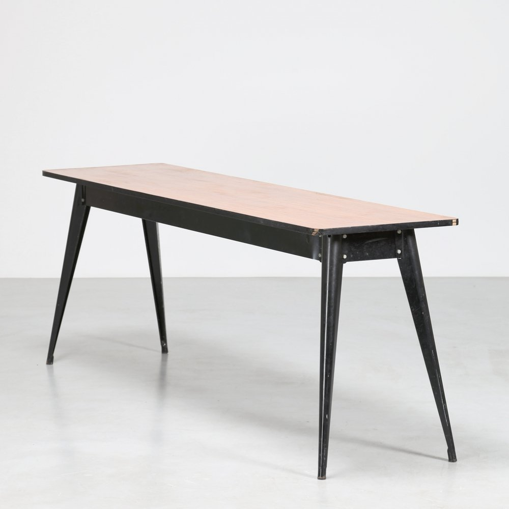 1950s French console in iron & laminated wood
