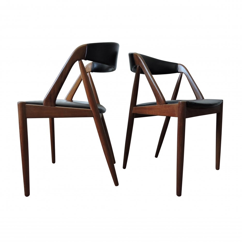 Pair of Model 31 Teak Chairs by Kai Kristiansen for Schou Andersen, 1960s
