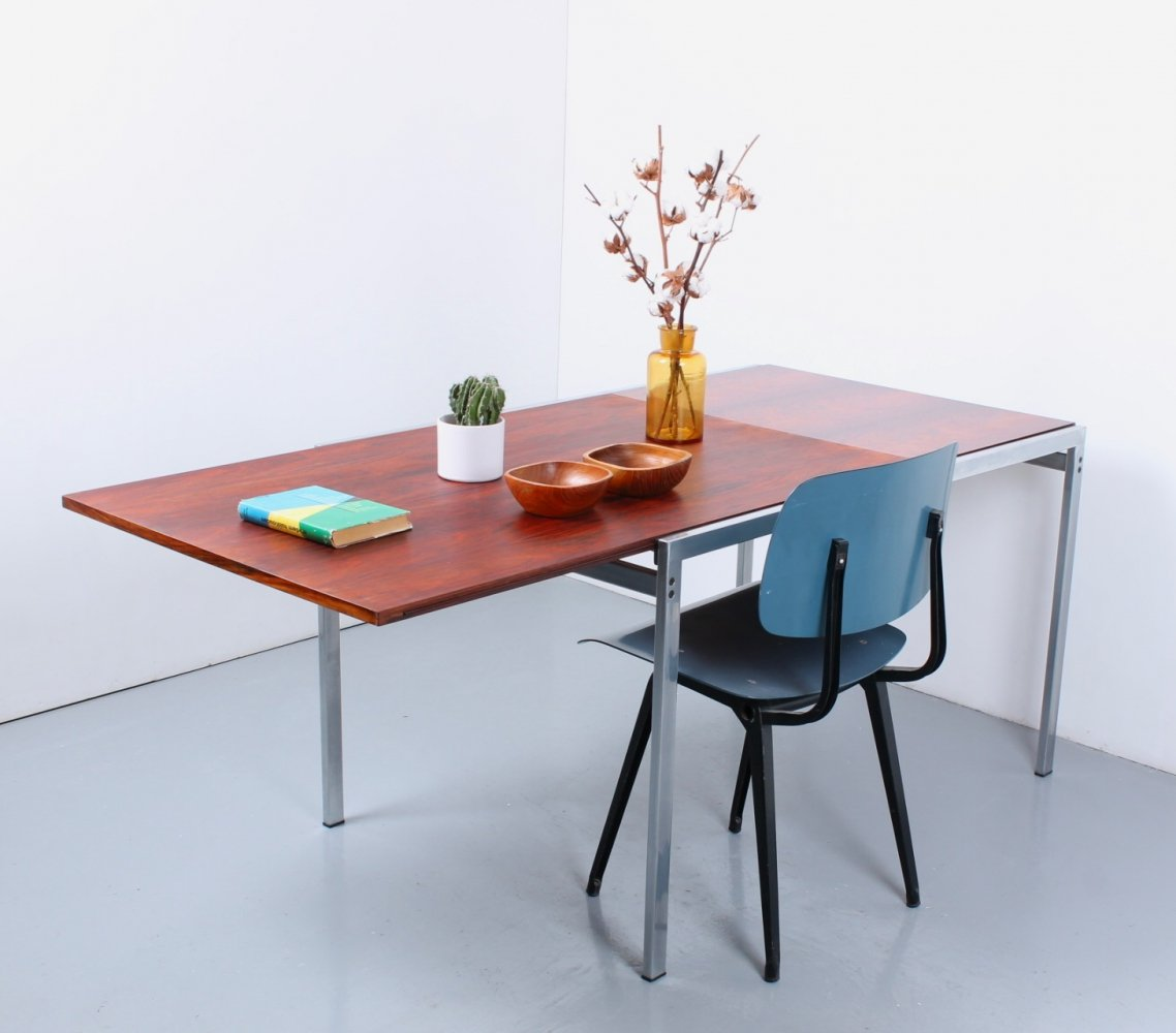 Extensible rosewood chrome dining table by Cees Braakman for Pastoe