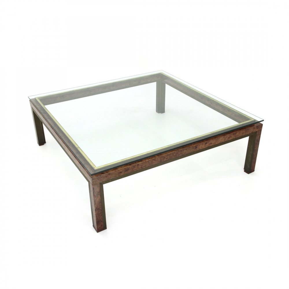 Italian Square Coffee Table In Briarwood, Brass & Glass