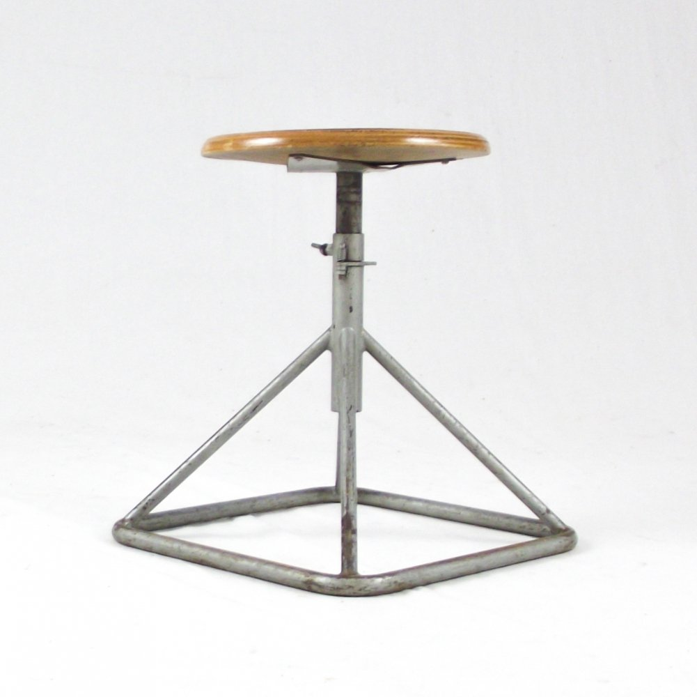 Adjustable squared base industrial stool, 1960s