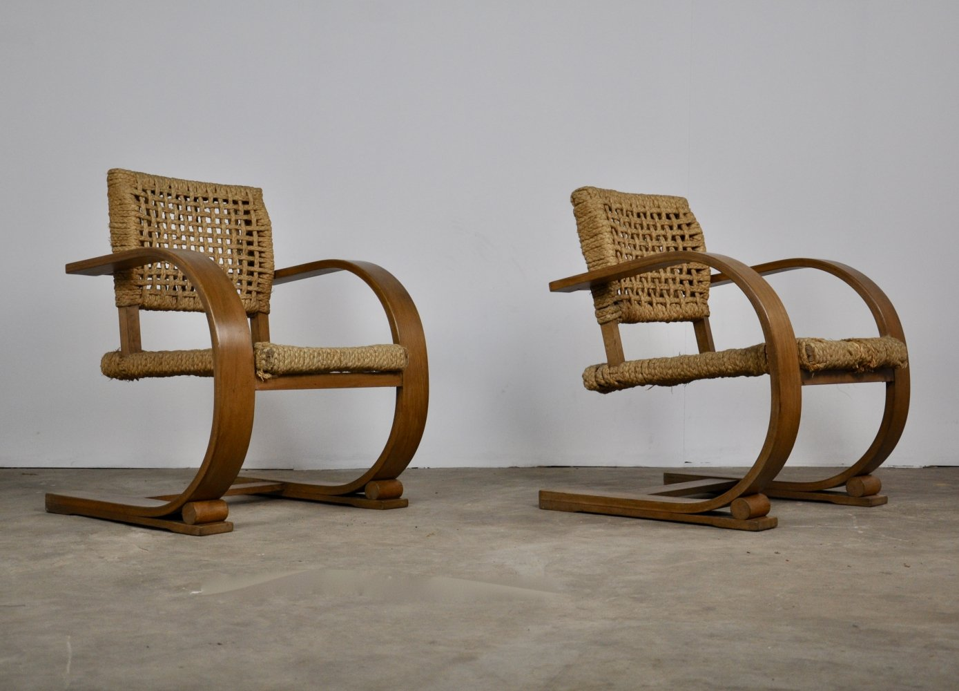 Pair of Lounge chairs by Audoux & Frida Minet for Vibo Vesoul, 1940s
