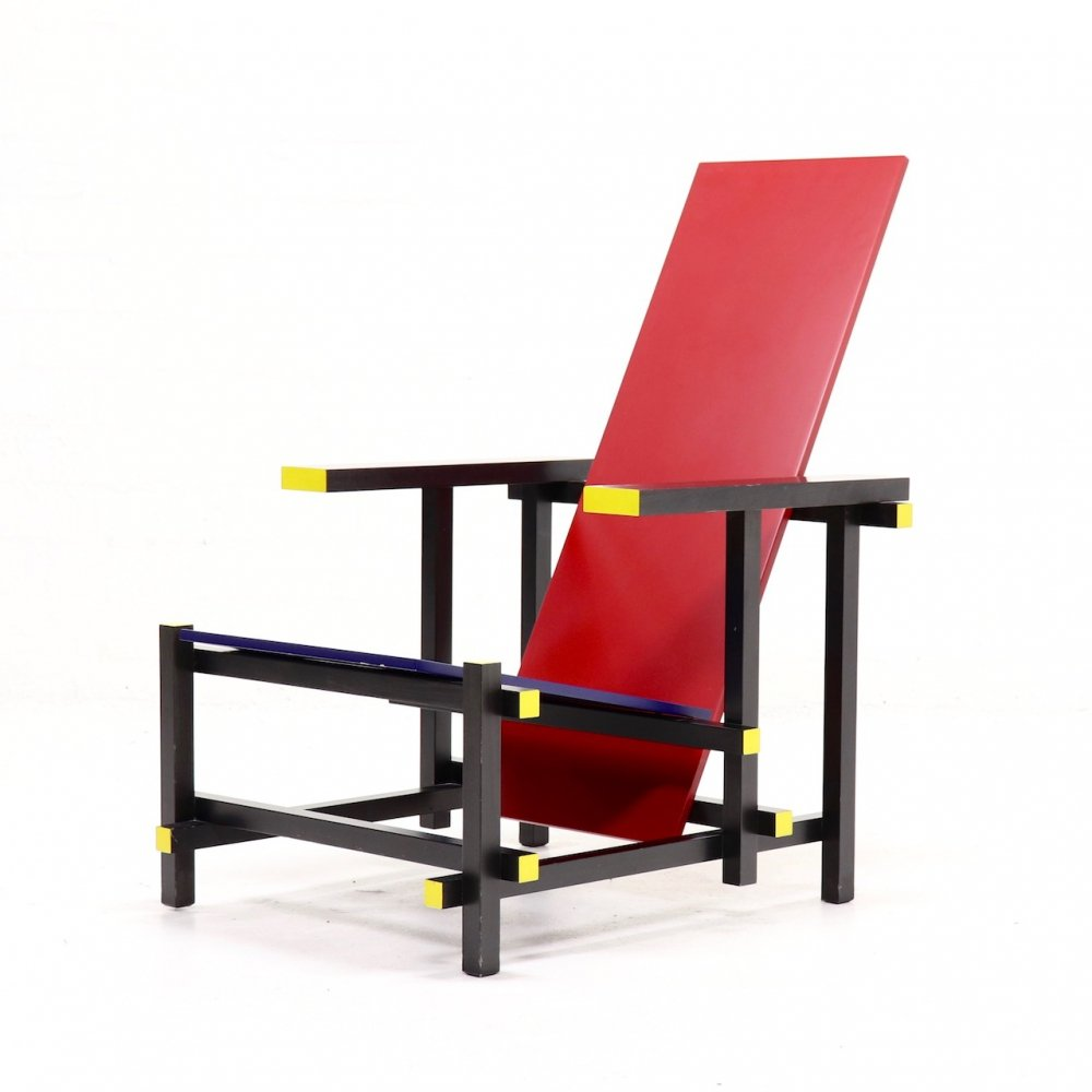 Gerrit Thomas Rietveld Red & Blue Chair by Cassina, 1980s
