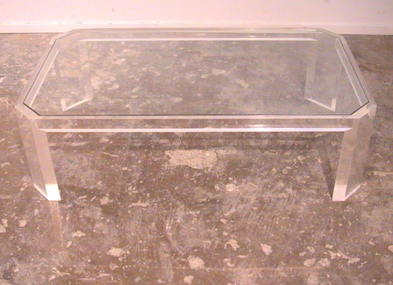 David Lange Lucite & glass coffee table, 1970s