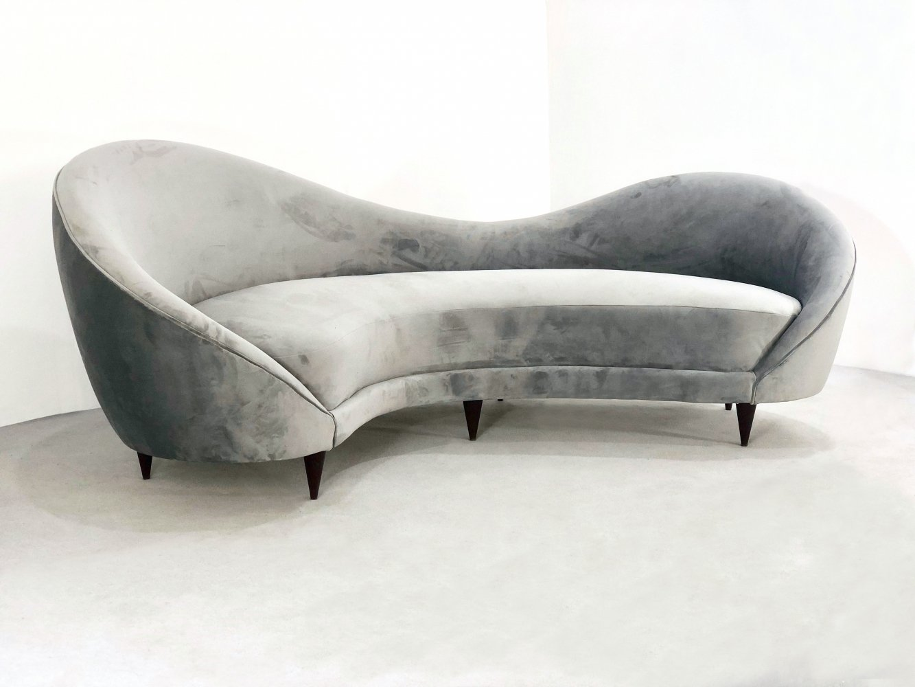 Wave sofa in gray lined velvet, 1950s