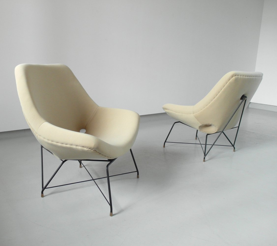 Sculptural Pair of Lounge Chairs by Augusto Bozzi for Saporiti, Italy 1954