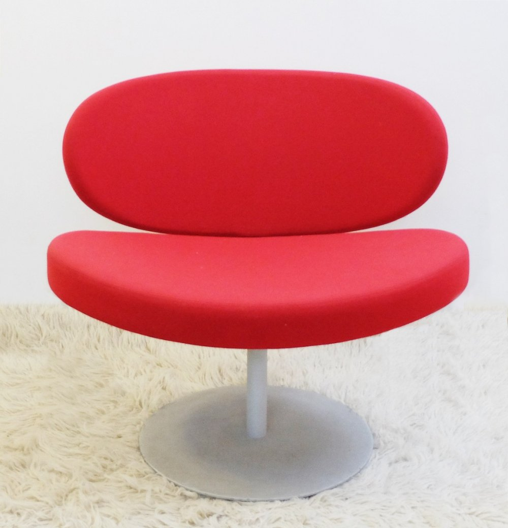 Red Swivel Chair With Disc Base, 1960s