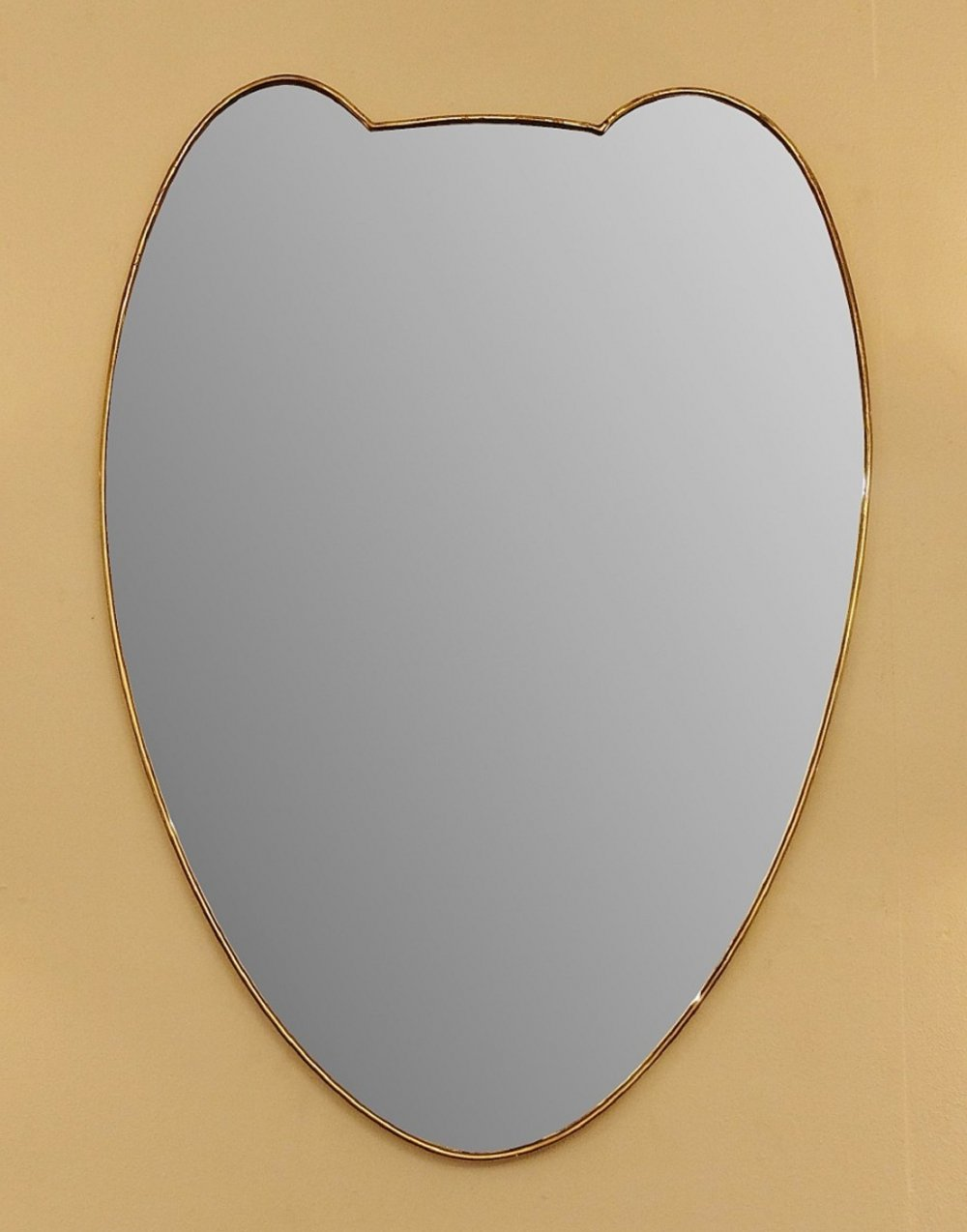 Large Brass Wall Mirror, Italy 1950s