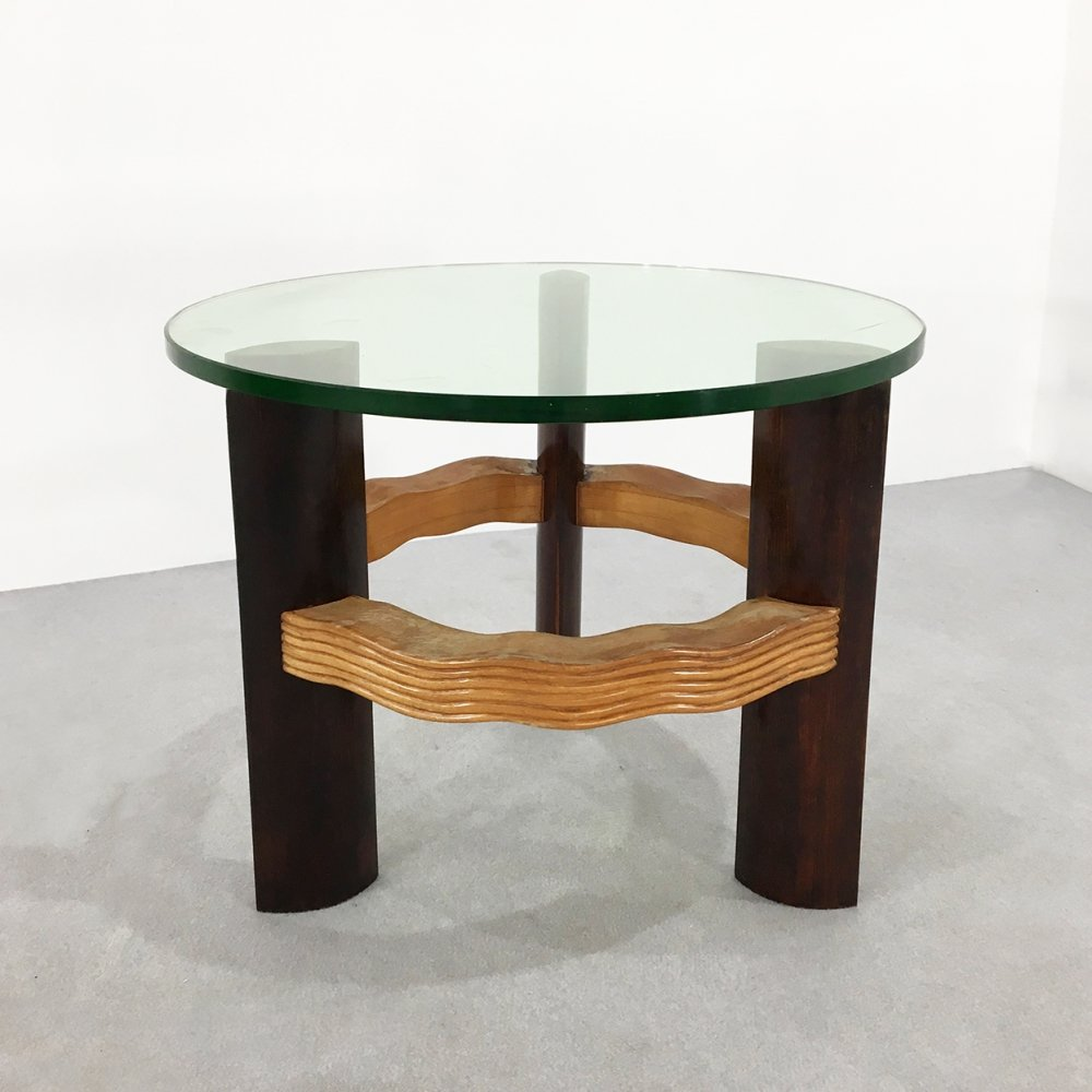 Elegant coffee table by Osvaldo Borsani in ebonized walnut & crystal, 1950s