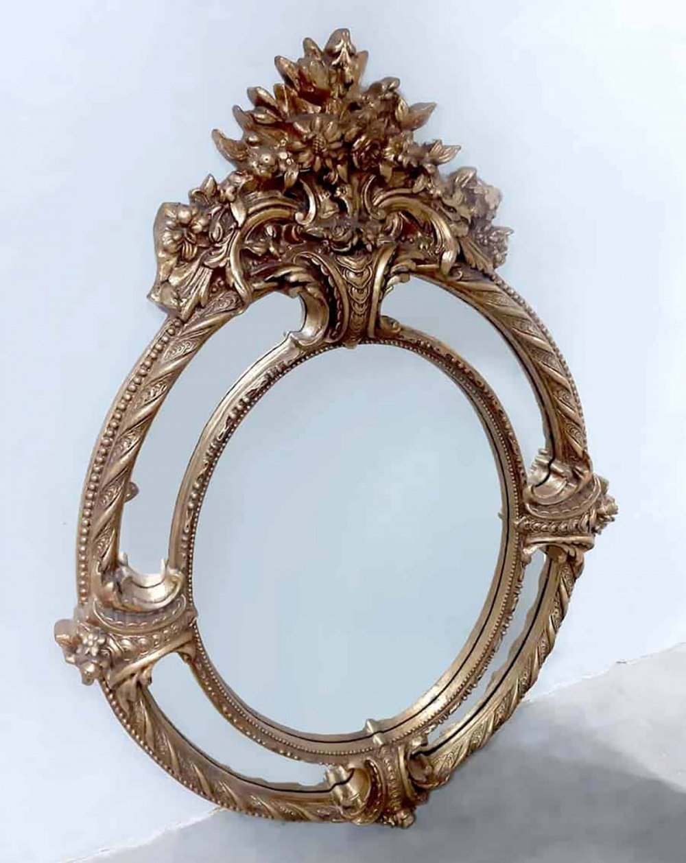 Antique French giltwood XL mirror, 1940s