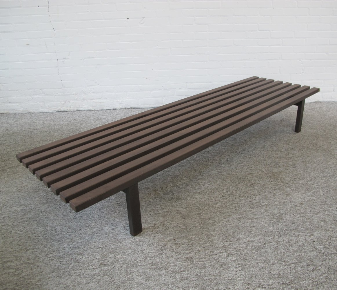 Vintage metal slats bench from the sixties
