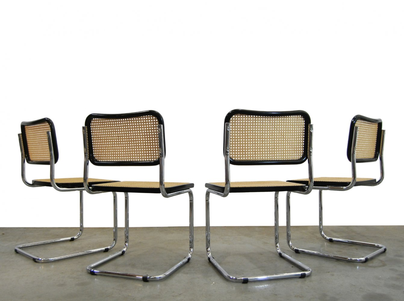 Vintage Cesca dining chairs by Marcel Breuer, Italy 1990s