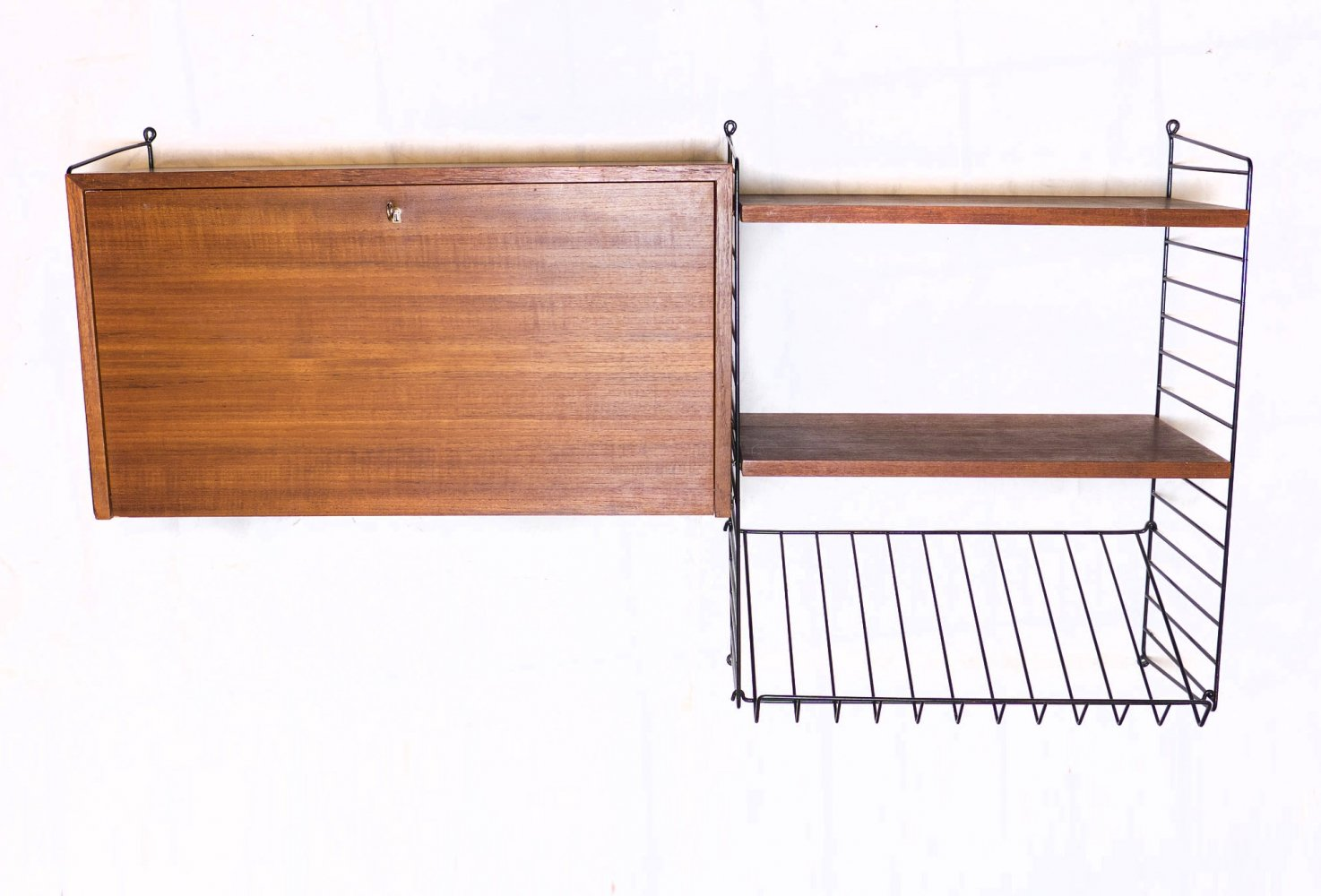 Teak String Shelf with Container & Magazine Rack by String