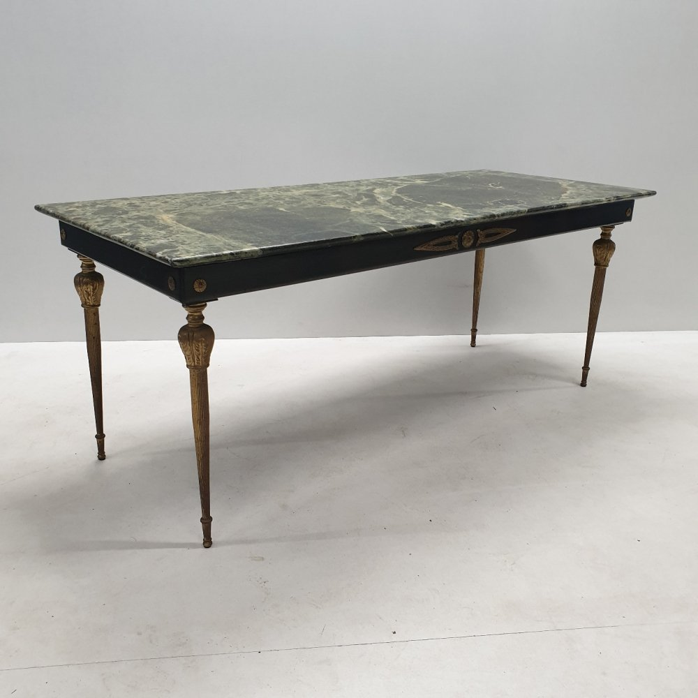 Vintage Brass Coffee Table With A Green Marble Top