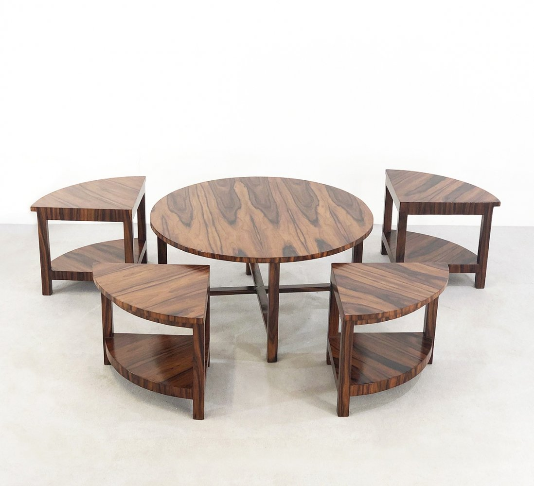 French table with 4 small pull-out tables, 1930s