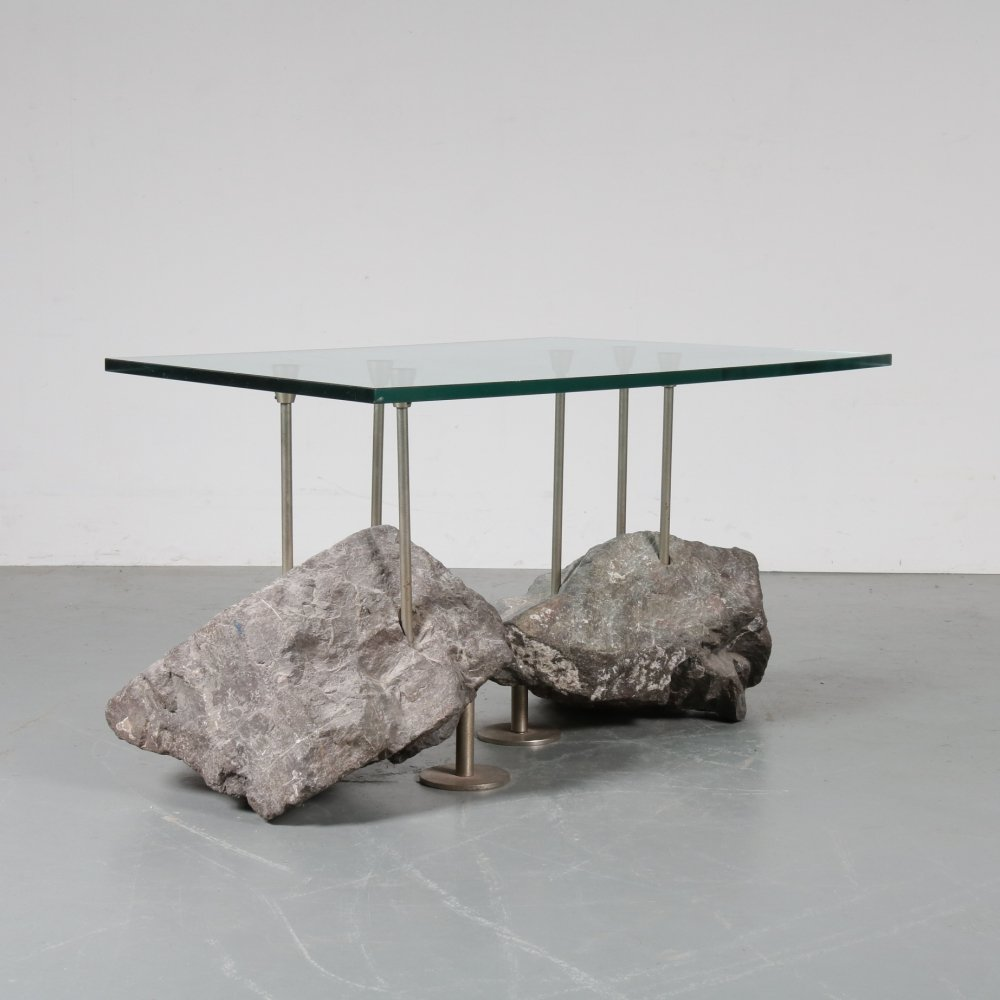 Unique rock base coffee table, Netherlands 1980s