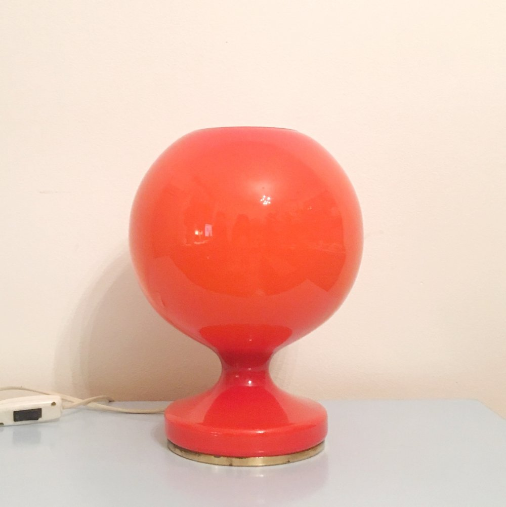 Red Glass Table Lamp By Štepán Tabera, 1960s