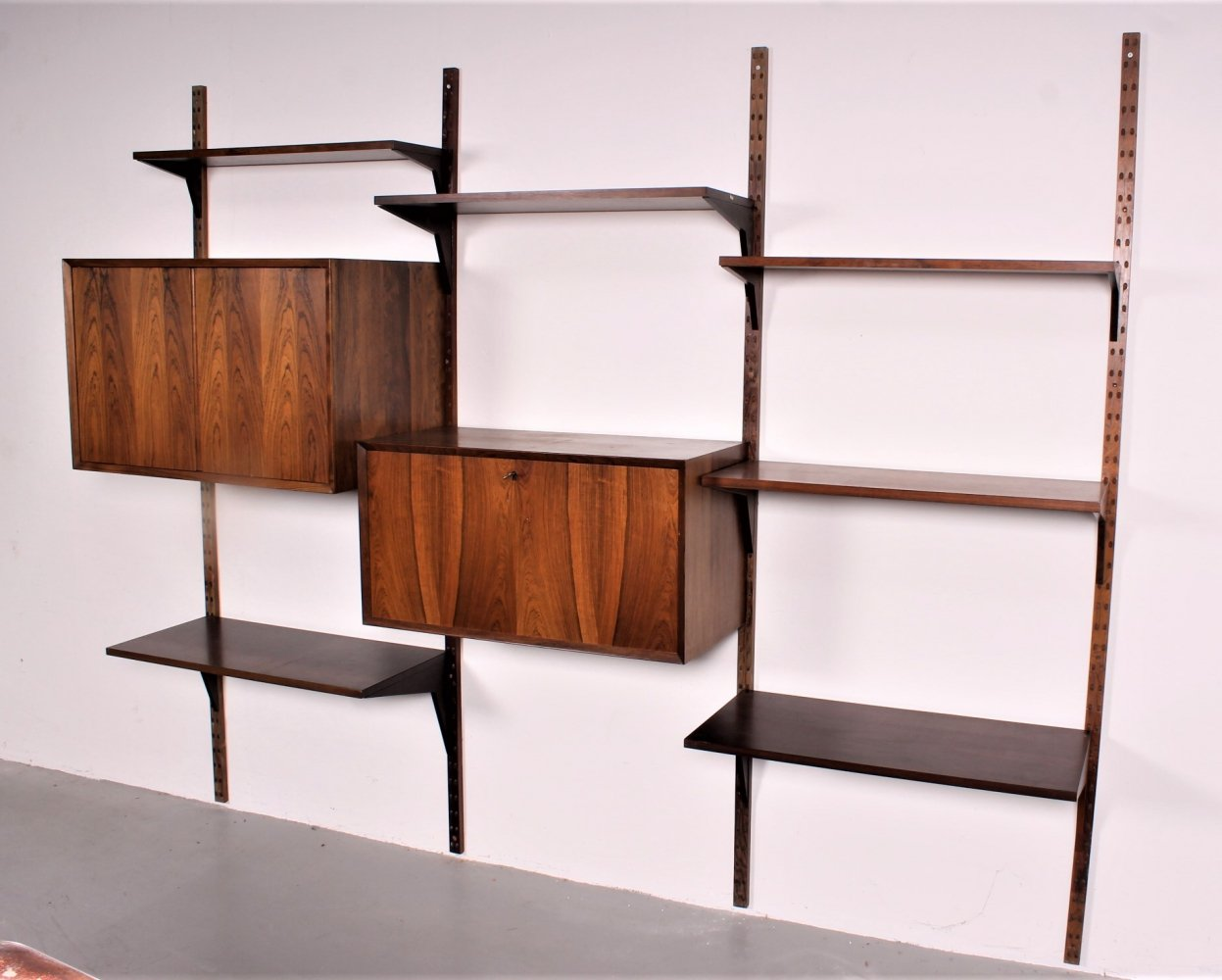 Rosewood Wall system with desk cabinet by Poul Cadovius for Cado