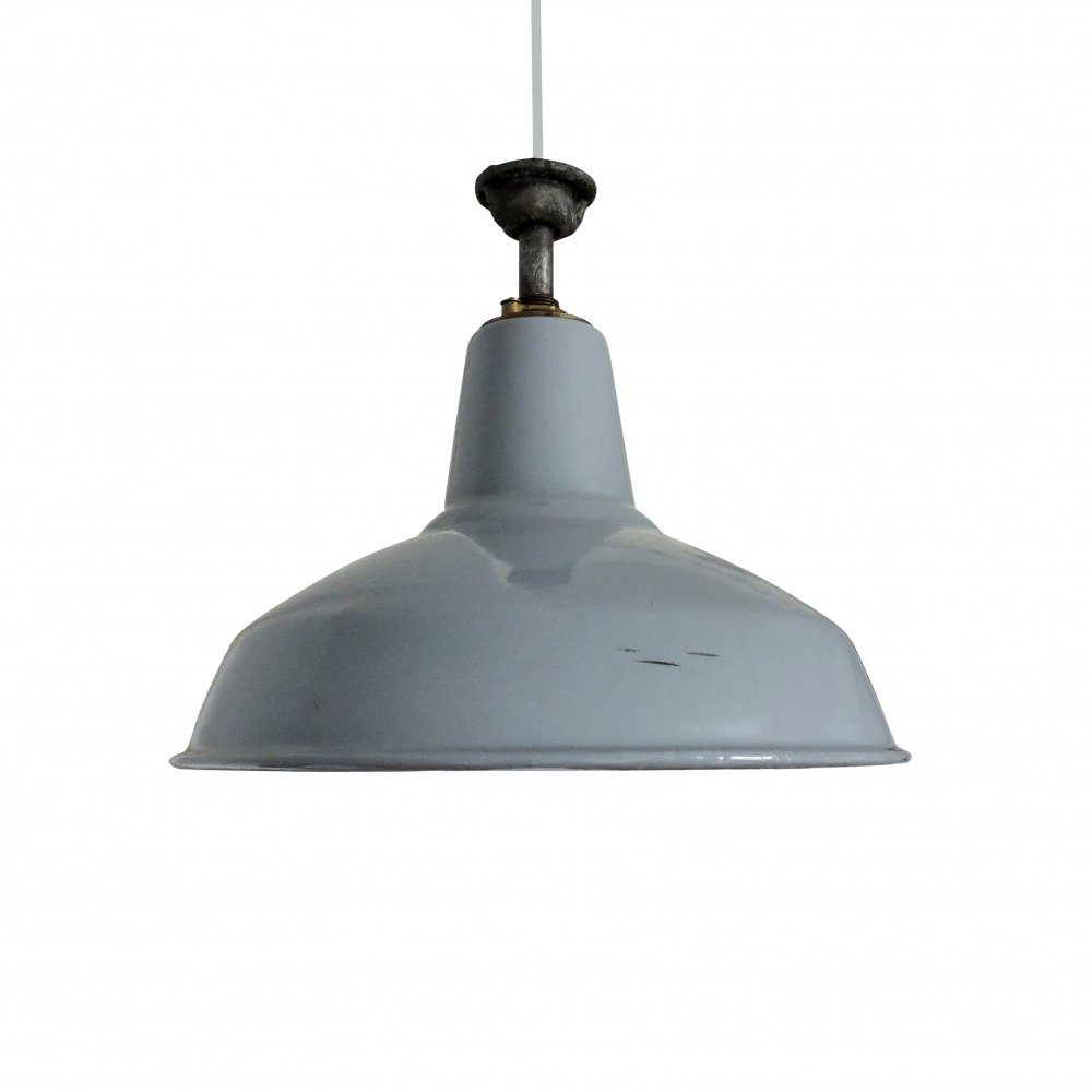 Industrial Grey Pendant Light, 1950s