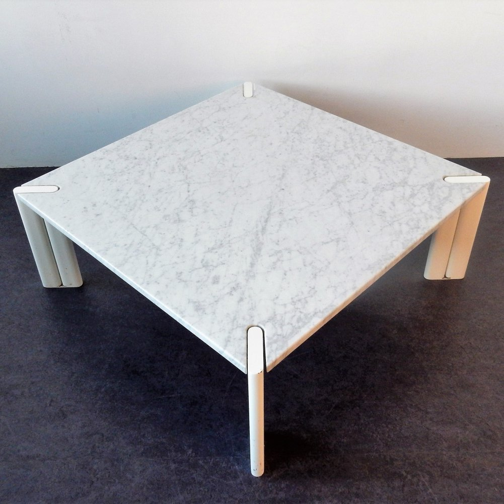 Vintage white marble coffee table, 1970s