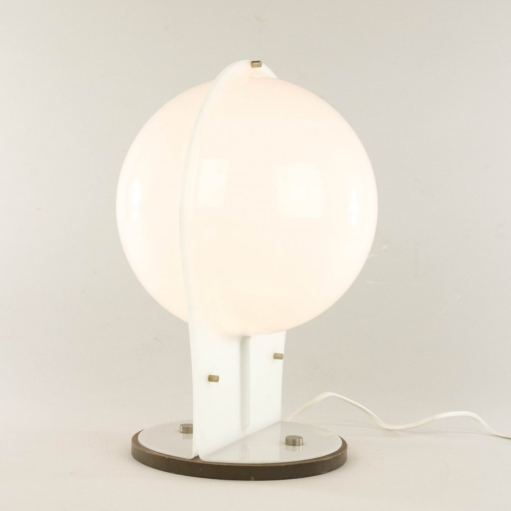 White table lamp made of two molded plastic half-spheres with wooden base, 1970s