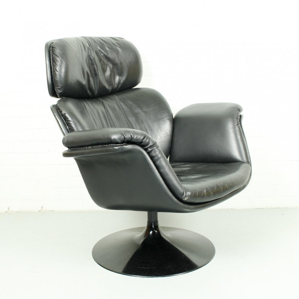 Black leather Big Tulip Chair by Pierre Paulin for Artifort, 1960s