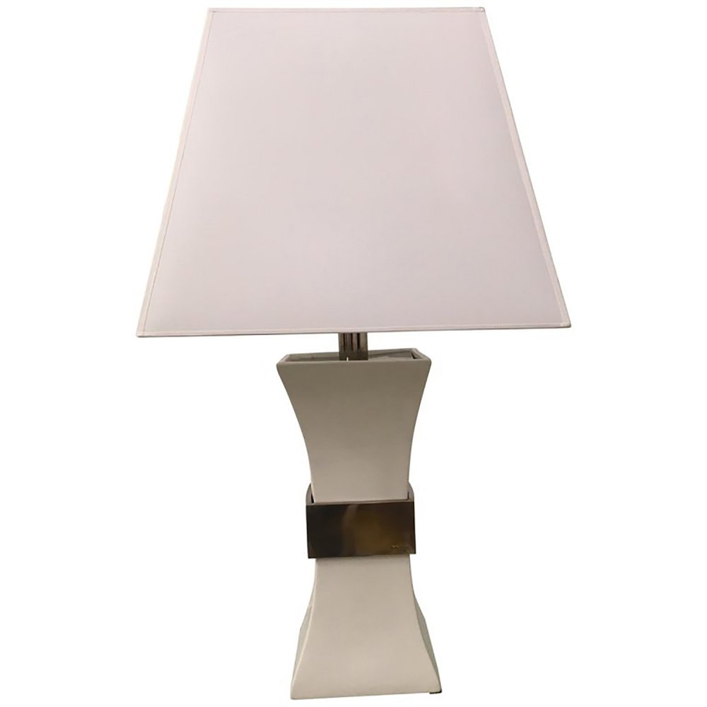 Gabriella Crespi Table Lamp in Ceramic & Golden Brass, Italy 1970s