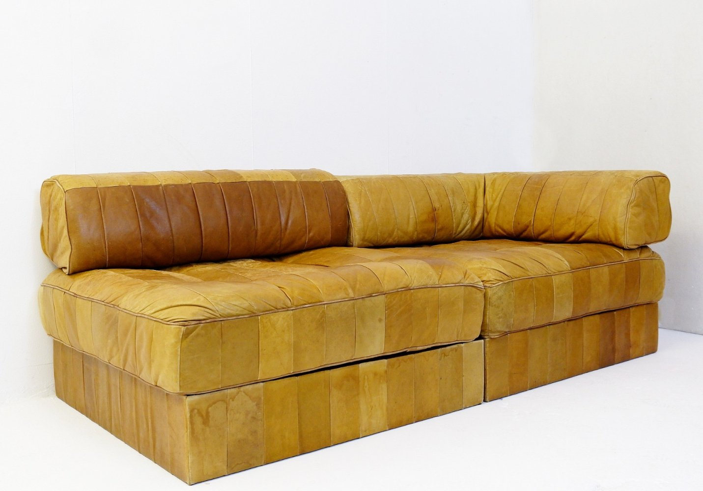 DS88 Patchwork Cognac Leather Modular Sofa From De Sede, 1970
