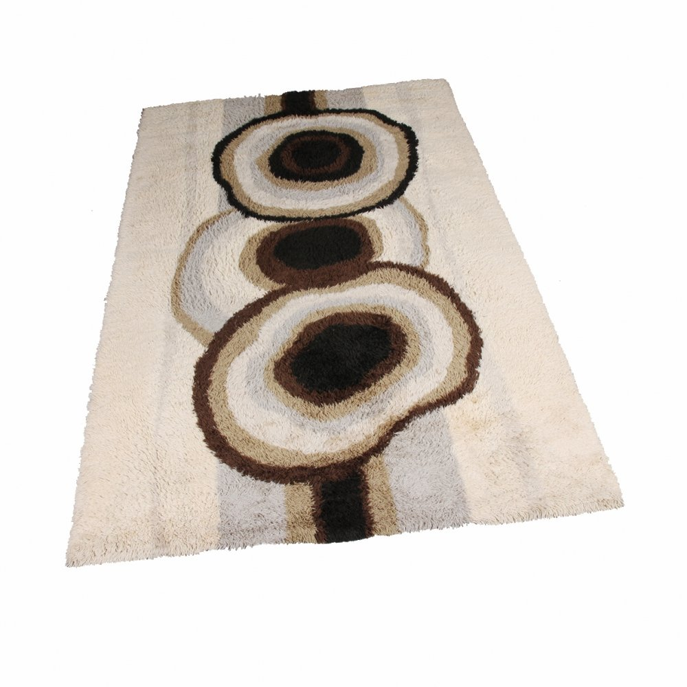 Extra Large Original Scandinavian High Pile Beige Rya Rug by Ege Taepper, 1960s