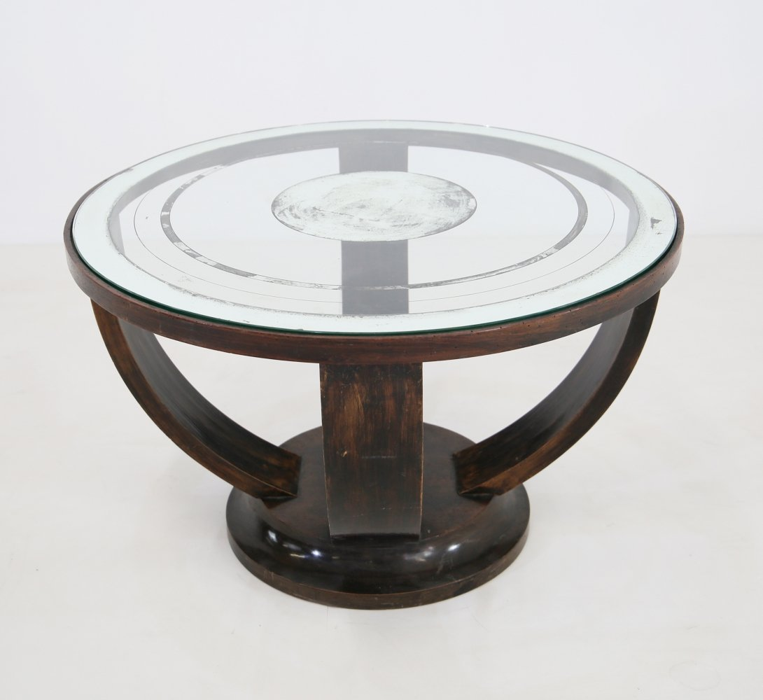 Elegant French Art Deco coffee table with glass & mirrors, 1920s