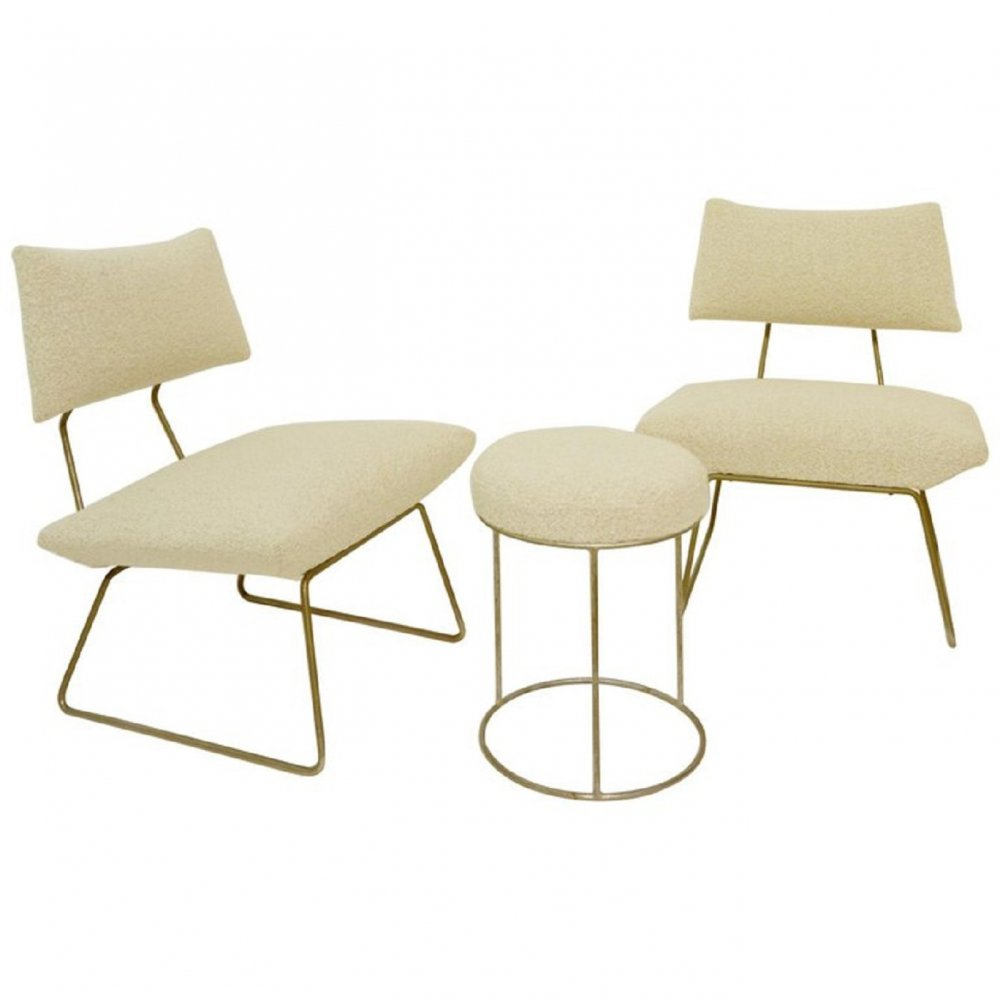 Set Of Lounge Chairs And Stool By Georges Coslin