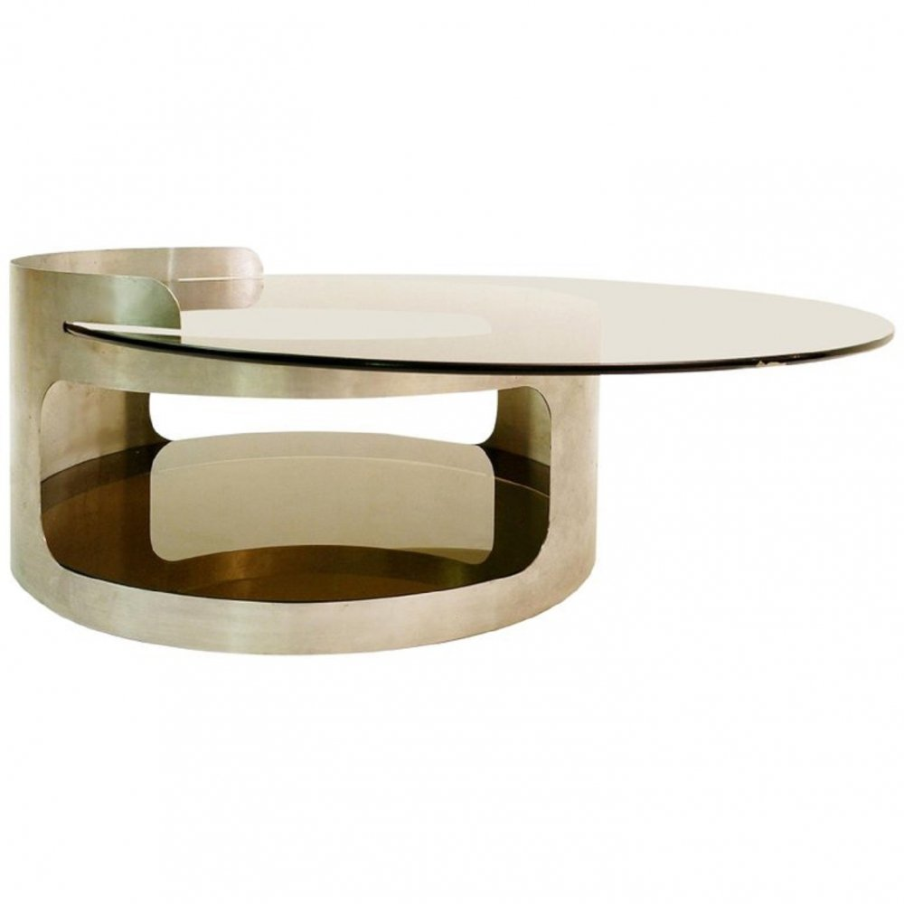 Round Coffee Table with Two Trays in Smoked Glass by Francois Monnet for Kappa