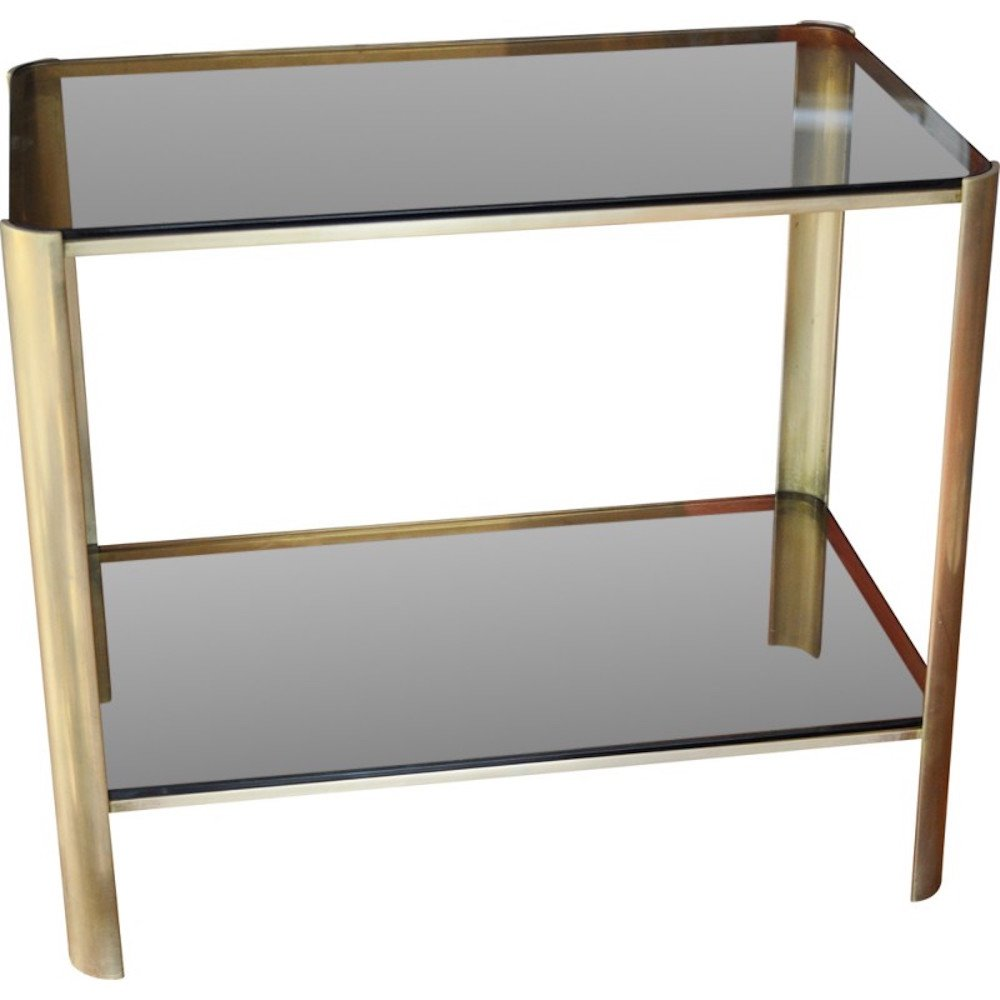 Vintage bronze & smoked glass console table by Jacques Quinet for Broncz, 1960s