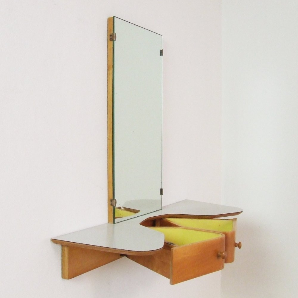 Fifties wall mount make-up vanity table by Cees Braakman for Pastoe