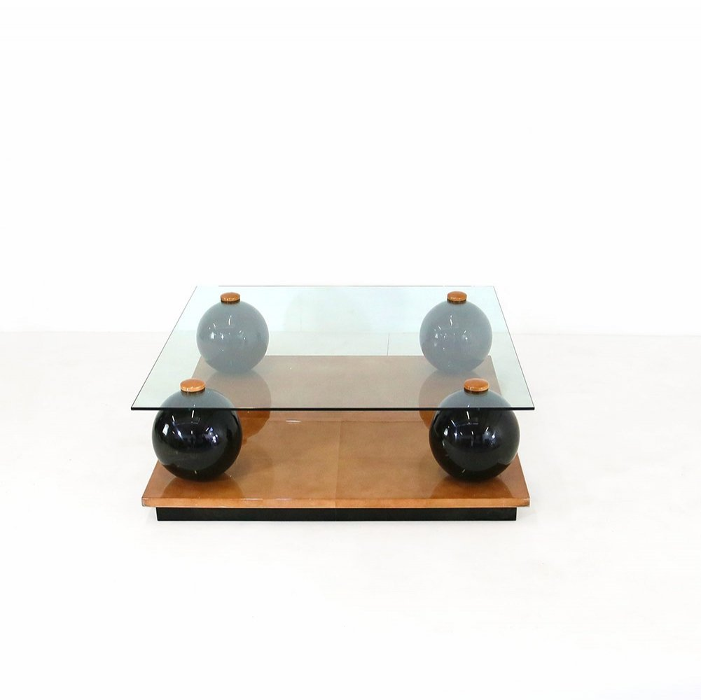 Coffee table in wood, leather & glass by Giorgio Tura, 1980