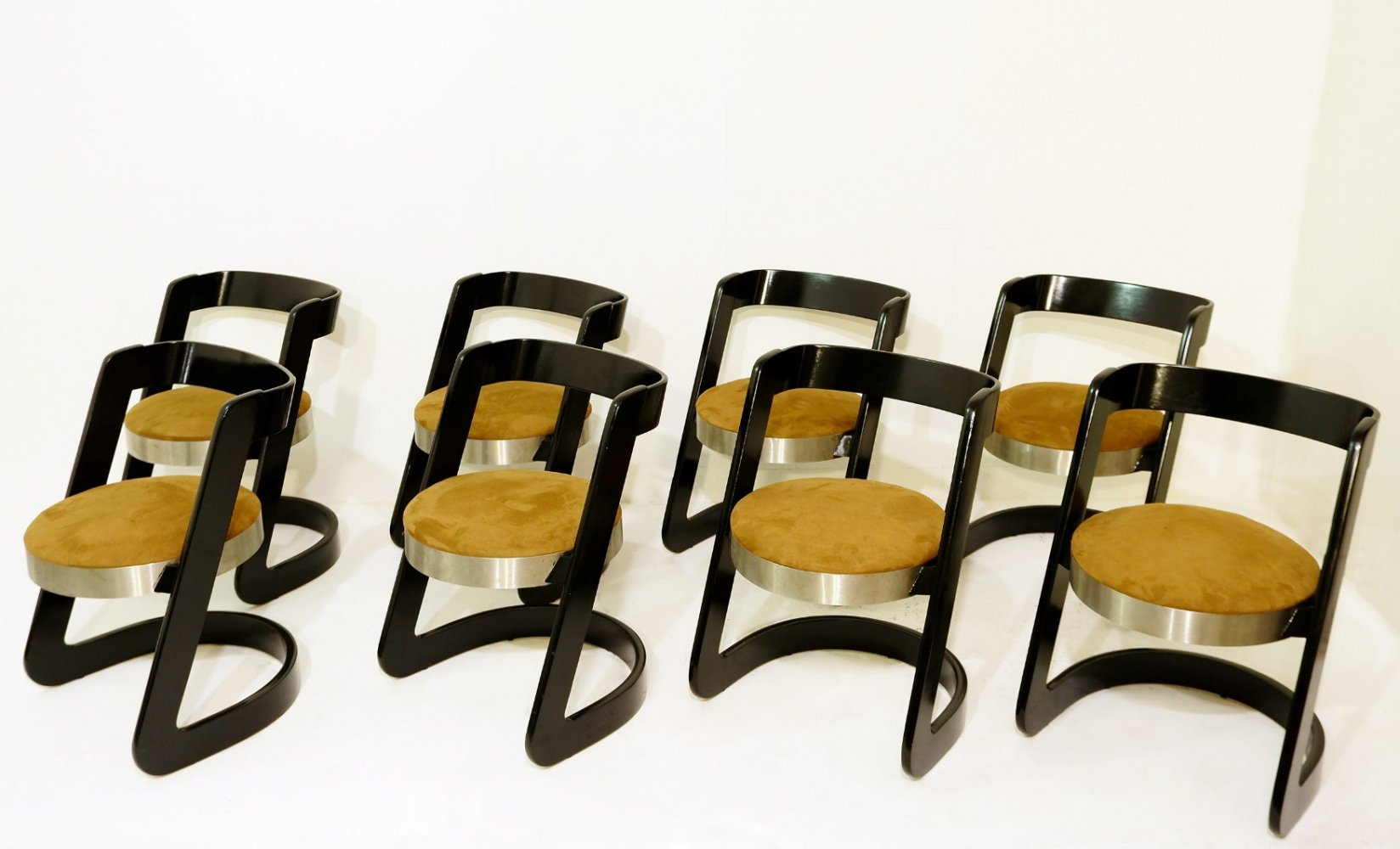 Set of 8 Dining Chairs by Willy Rizzo for Mario Sabot, Italy 1960s