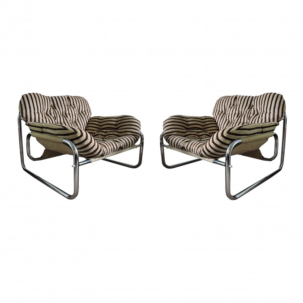 Pair of Upholstered Armchairs by Swed Form, 1970s