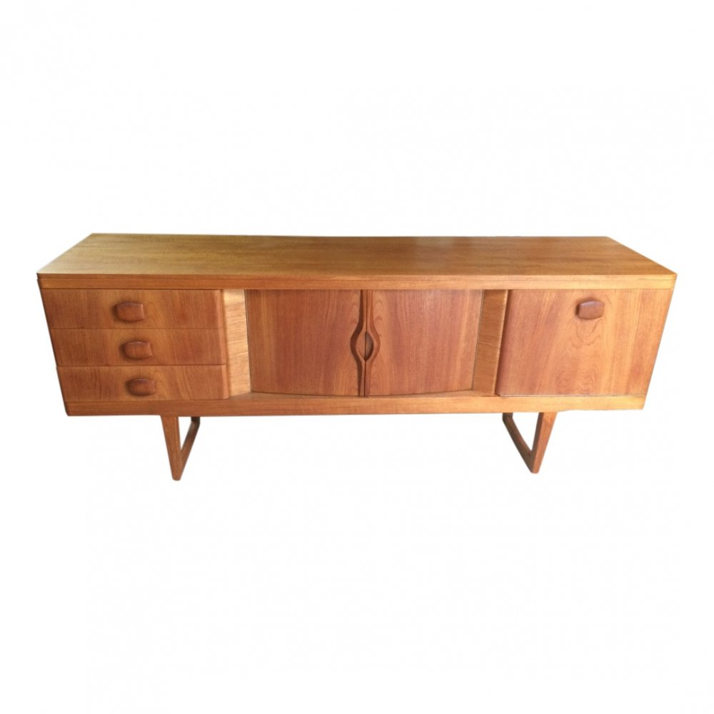 Scandinavian style Vintage teak sideboard with sculpted handles