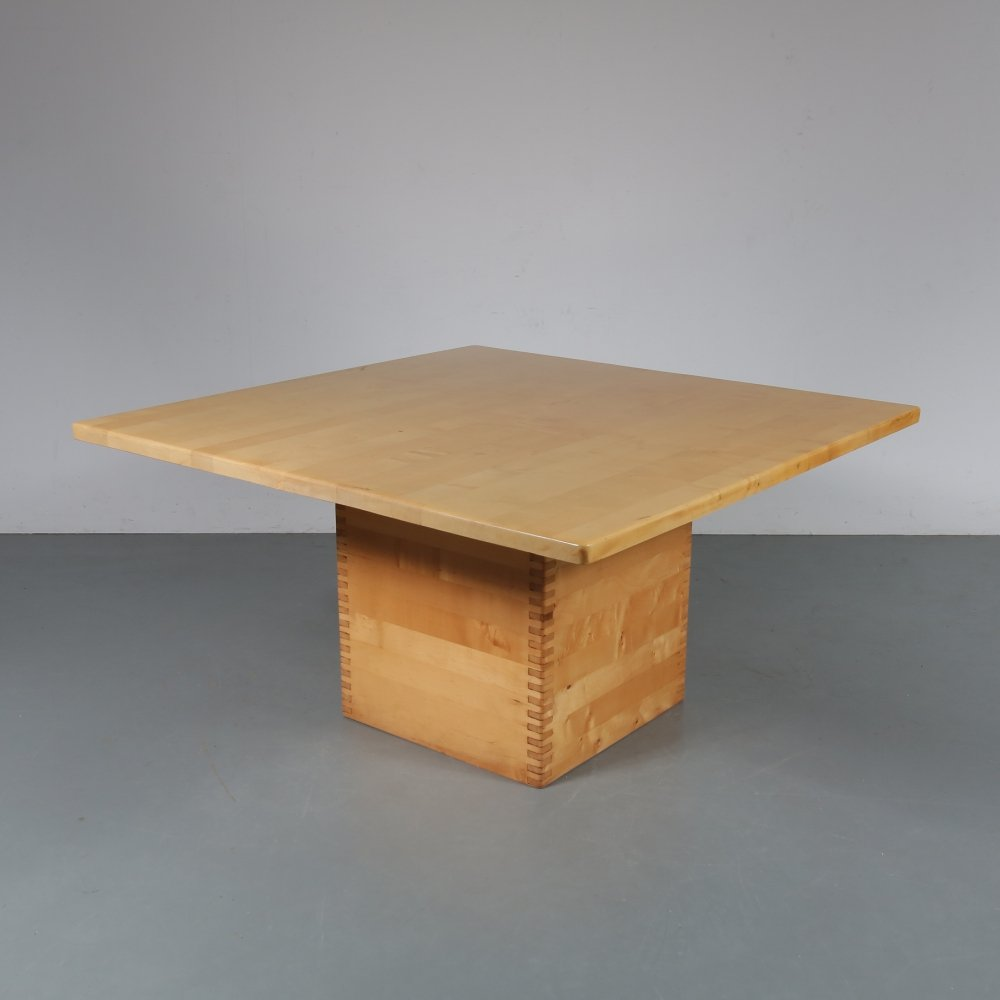 Square pine dining table by Ate van Apeldoorn, the Netherlands 1960s