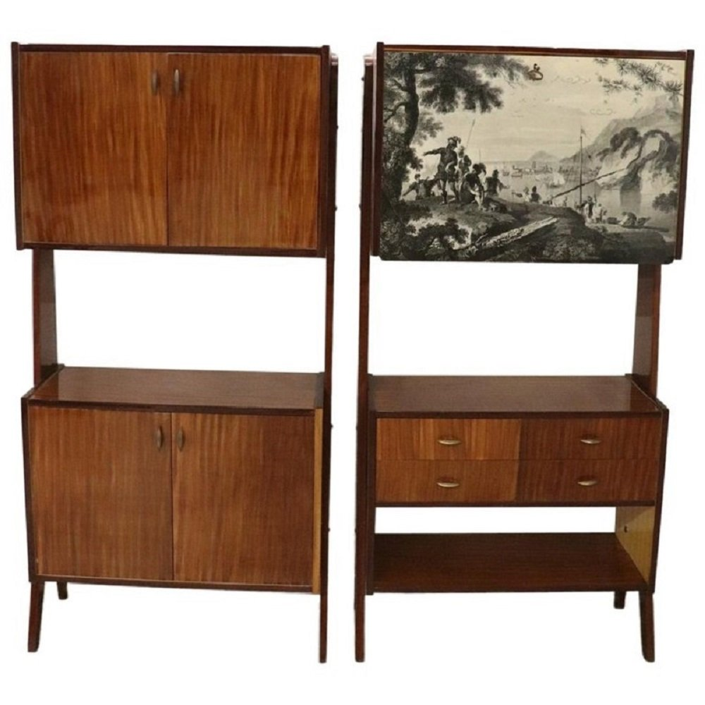 Pair of Italian Teak Bookcases or Cabinets, 1960s