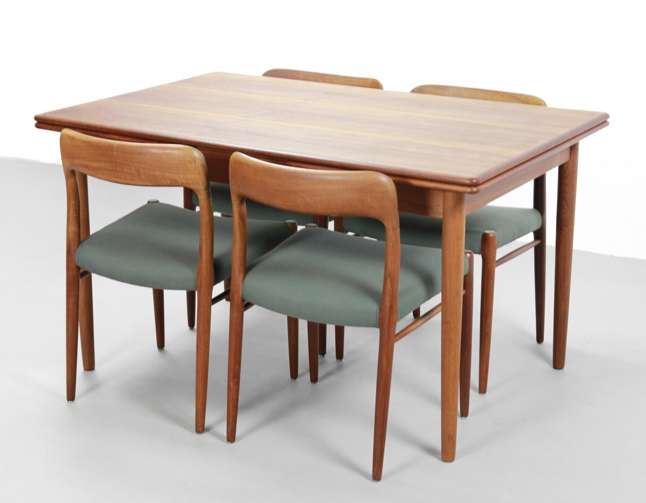 Set of 4 Niels O. Moller chairs + dining table in teak, 1960s