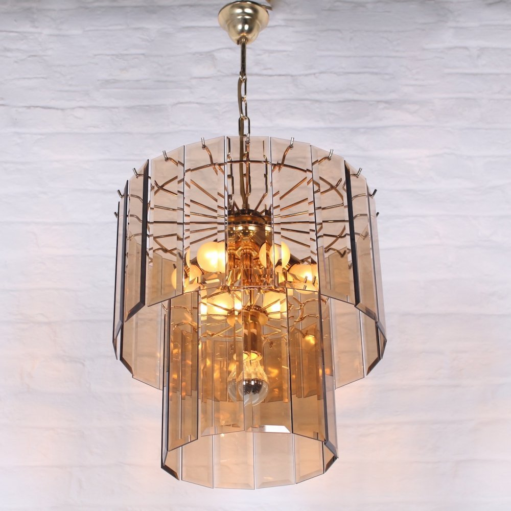 Hollywood regency Murano brass & glass pendant lamp